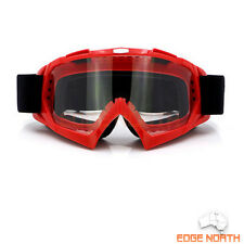 GOGGLES RED Frame Clear Lens Motocross MTB Off road DIrt bike ATV Scooter
