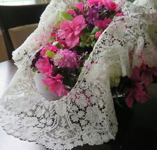 Vtg Antique Brussels Point de Gaze Duchesse Lace Handmade Ruffled Collar Flounce