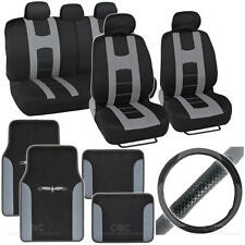 Complete Interior Set Car Seat Cover, Mat & Steering Wheel Cover - Black / Gray