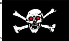 Skull and Crossbones Red Eyes Flag 3x5 ft Jolly Roger Bones Pirate Ship Black