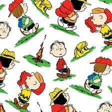 """Snoopy Camp Peanut WHITE - CHARACTER TOSS 100% cotton 44""""  fabric by the yard"""