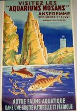 Original Vintage Belgium Travel Poster on Linen