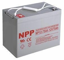 NPP 12V 75 Amp 12 Volt 75Ah 80Ah Rechargeable AGM Deep Cycle Long Life Battery