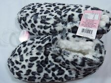 Plush Animal Leopard Print Booties Slippers Womens Small 5/6 No Slip Sole Fuzzy