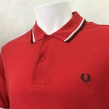 Fred Perry Mens Red Navy white tipped Polo Shirt small 38 Mod casuals RRP £65