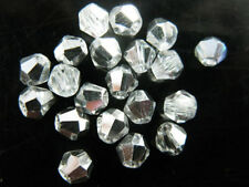 100pcs Half Silver Plated Glass Crystal Faceted Bicone Beads 6mm Spacer Findings