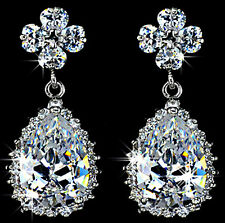 2ct Lab-Created Diamond Bullet Clasp Water Drop 925 Sterling Silver Earring