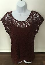 Ladies NEXT Brown Lace Crochet Sheer Over Top With Under Top Size 10