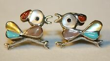 ZUNI VINTAGE  925 STERLING SILVER ROADRUNNER (beep beep) MOP BIRD POST EARRINGS
