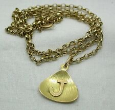 Vintage 18ct Gold Initial J Pendant On A 9ct Gold Chain