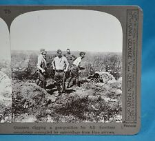 WW1 Stereoview Gunners Digging Position For 4.5 Howitzer Concealed by Camouflage