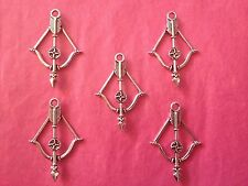 Tibetan Silver Cross Bow/Bow and Arrow Charms 5 per pack