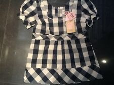 Juicy COUTURE nuove piccole BLUE & WHITE COTTON & SILK IMPERO Camicetta UK 6 / USA 2 NWT