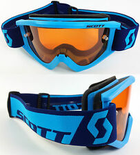 2016 SCOTT RECOIL XI MOTOCROSS GOGGLES BLUE with GOGGLE-SHOP ORANGE TINTED LENS