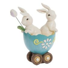 Bunny in Egg Cart 7.5 in Resin tabletop decoration NEW rzea 3710237 RAZ Imports