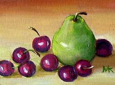 Stillife Cherries w. Pear Detailed ACEO ORIGINAL  Miniature  Oil Painting