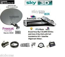 SKY HD FREESAT DRX890 SATELLITE BOX INCLUDING ZONE 2 DISH, LNB, FULL INSTALL KIT