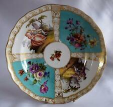 Antique~Meissen Plate~Dish~X Swords Mark~early 19thc 1800s~Turquoise~Porcelain~