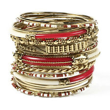 NWT Amrita Singh BBAS 834 Gold Monaco Red Cream 16 Bangle Bracelet Set Size 8