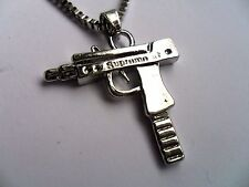 Silver Plated  Alloy  UZI Gun  Hip Hop Pendant and Chain Necklace