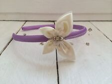 Lilac Satin Headband Alice Band Hairband Ivory Butterfly Bridesmaid Flower Girl