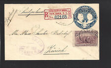 """PATTERSON, NEW JERSEY COVER,1893 TO """"ZURICH, SWITZERLAND"""" with NY Registry Label"""