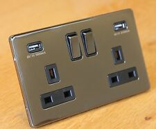 Screwless Nero Nickel 13 bis DOPPIA / 2 gang presa a muro con 2 porte USB OUTLET PORTS