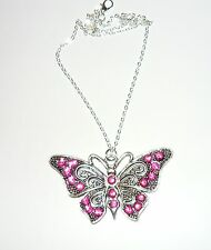 """Beautiful  sparkly pink crystal set butterfly necklace on long 18"""" chain"""