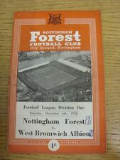 06/12/1958 Nottingham Forest v West Bromwich Albion  (folded, pin hole, score on