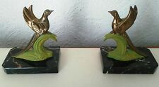 ART DECO BOOKENDS PARADISE BIRDS MARBLE ANTIQUE VINTAGE DECORATE FRENCH  SPELTER