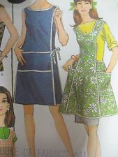 Vtg 60s McCall's WRAP-AROUND APRON WORN ALONE or OVER DRESS Sewing Pattern Women