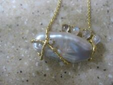 Indulgems Long Pale Pink Biwa Pearl with Moonstone Accent Necklace, NWT