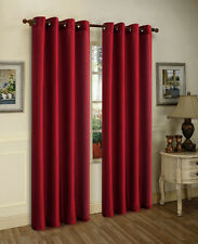 "2  WINE RED PANELS SEMI SHEER GROMMET WINDOW CURTAIN 56 WX 84"" L each panel"