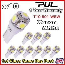 10x 501 T10 W5W PUSH WEDGE 5 SMD LED 360 HID WHITE SIDE LIGHT BULBS
