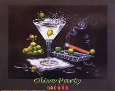 "Michael Godard-""OLIVE PARTY 2"" Martini-Olives-Cigar-Las Vegas-Party-Poster"