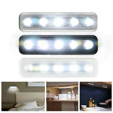 5-LED Cordless Under Cabinet Push Tap Touch Stick On Night Light Lamps Batteries