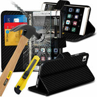 Black Carbon Fibre Wallet Case Cover & Tempered Glass For Various Smart Phones