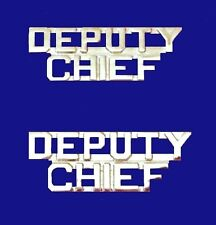 Deputy Chief Collar Pin Set Cut Out Letters Nickel Plate Fire Dept Police P2215