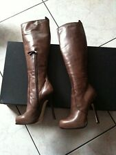 DSQUARED2 - STIVALI IN PELLE CON TACCO 13  N. 37 -  BROWN BOOTS 7 NEW
