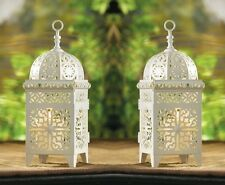 "White Scrollwork Wedding Lantern 10 3/4"" Tall (Set of Two) Event Supplies 38332"