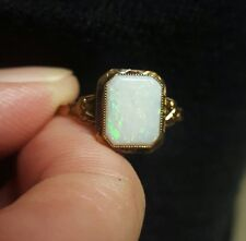VINTAGE ANTIQUE ART DECO 10K GOLD OPAL ring. 10 by 8 mm opal!! Marked 10k gold