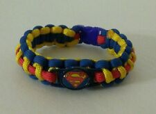 "SUPERMAN PARACORD BRACELET 550 CORD 8.5"" JUSTICE LEAGUE BLUE YELLOW RED"
