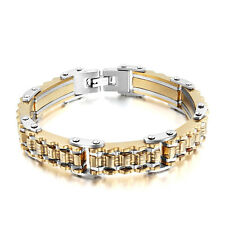 Punk Cool Men's Gold Motorcycle Biker Bicycle Chain Titanium Steel Bracelet Gift