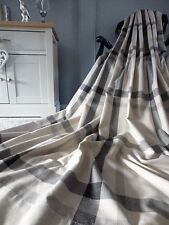"""NEXT 66x84"""" Charcoal Silver Natural Oversized CHECK Eyelet LINEN Curtains P2"""