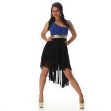 Sexy Vokuhila Kleid Blau Schwarz 34 36 38 Pailetten One Shoulder Abendkleid