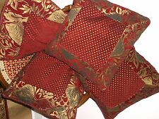 PAOLETTI GOLD & WINE RED CUSHION COVERS CHENILLE  X 4 INC INNERS REVERSIBLE