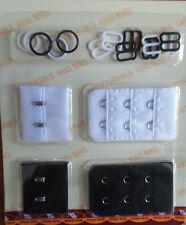 SET OF BLACK & WHITE BRA EXTENDER REPAIR KIT WITH STRAP SLIDES & RINGS