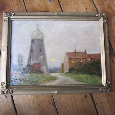 Thorne Yorkshire Mill Windmill Original Oil Painting on Board Antique Framed