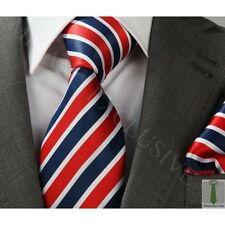 NEW ITALIAN DESIGNER RED & WHITE & BLUE STRIPED SILK TIE with HANKY