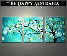ABSTRACT AQUA TREE ON STRETCHED CANVAS - SET OF 3  - each print is 40cmx50cmx4cm